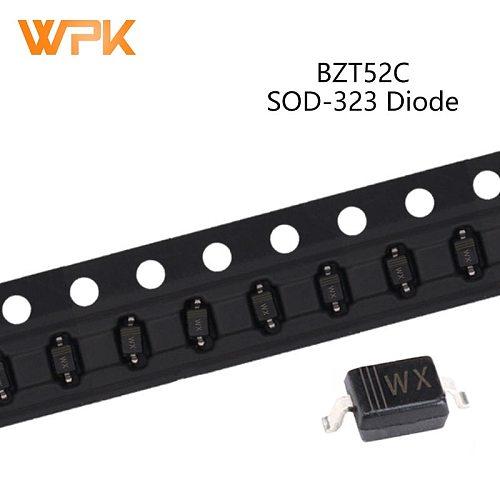 100Pcs SMD Zener Diode SOD-323 BZT52C2V4S WX BZT52C2V7S W1 BZT52C3V0S W2 BZT52C3VS3 W3 BZT52C3V6S W4 BZT52C3V9S W5 BZT52C4V3S W6