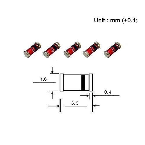 (100 Pcs) SMD Zener Diode 0.5W 5.1V ZMM5V1 LL-34 (SOD-80 MiniMELF / 1206) 0.5 Watt 5.1 Volt ZMM 5V1