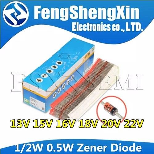 100pcs 1/2W Zener Diode 0.5W 13V 15V 16V 18V 20V 22V  BZX55C13V BZX55C15V BZX55C16V BZX55C18V BZX55C20V BZX55C22V