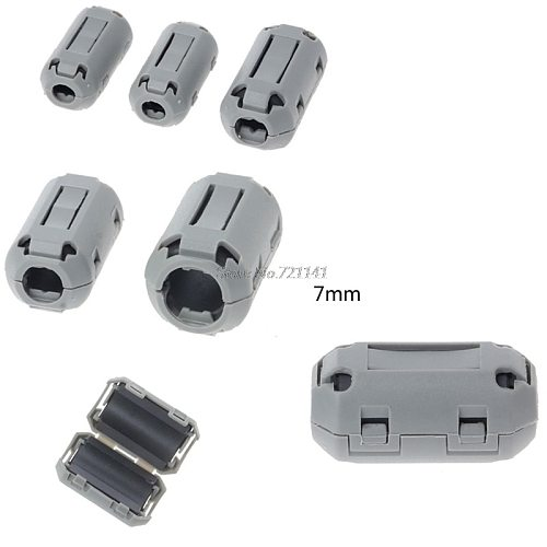 7mm Gray Ferrite Core Cord Ring Choke Bead RFI EMI Noise Suppressor Filter for Power Cord USB Cable Antenna Audio Cable Dropship