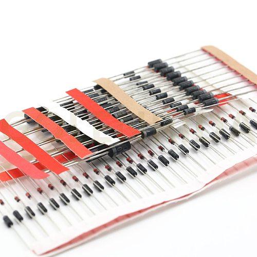 8values=100pcs 1N5399 1N5408 1N4148 1N4007 1N5819 1N5822 FR107 FR207 Switching Diode component diy kit