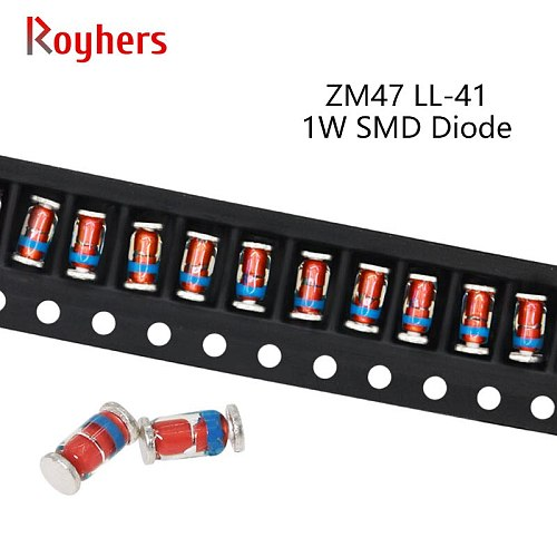 50Pcs 1W SMD Zener Diode ZM4740A ZM4741A ZM4742A ZM4743A ZM4728A ZM4729A 3.9V 4.3V 4.7V 5.1V 5.6V 6.2V 6.8V 7.5V 8.2V LL-41 ZM47