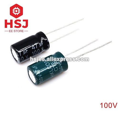 10pcs 5pcs 100V Aluminum Electrolytic Capacitor DIP 1UF 4.7UF 10UF 33UF 47UF 68UF 100UF 330UF 470UF 1000UF 3300UF 10000UF LESR