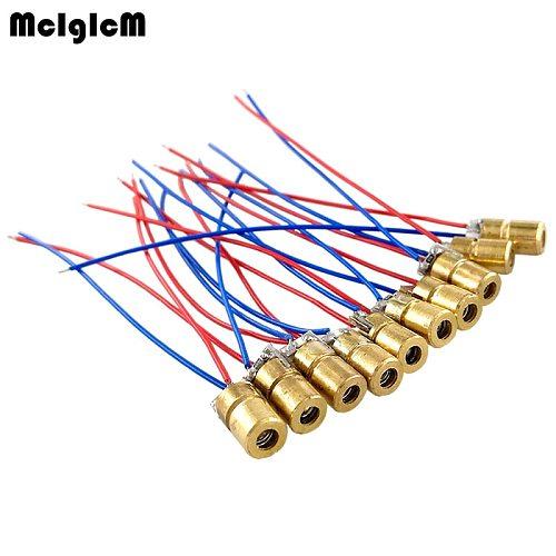 MCIGICM laser diode 10pcs 650nm 6mm 5V 5mW Adjustable Laser Dot Diode Module Red Copper Head 3v