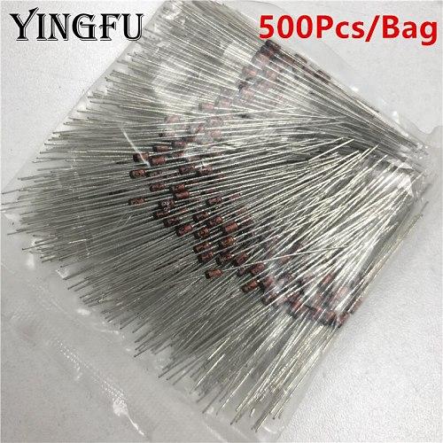 Sale 500Pcs/Bag BZX55C3V9 BZX55C5V1 BZX55C6V2 BZX55C24 HZ9C1 3.9V/5.1V/6.2V/9.1V/24V DO-35 0.5W Zener Diode Axial Lead