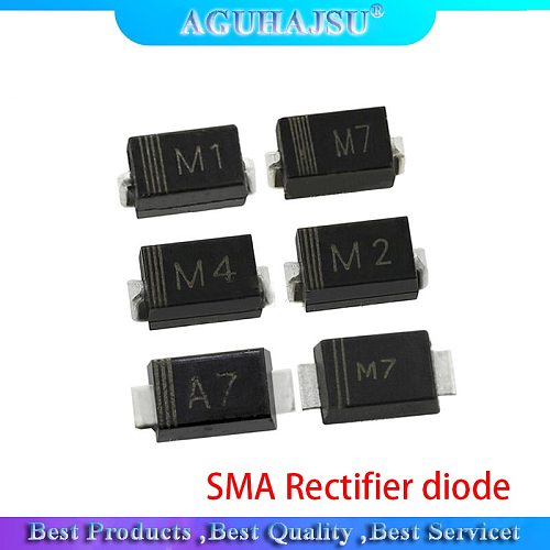 100PCS 1N4001 M1 1N4004 M4 1N4007 M7 FR107 RS1M FR207 RS2M HER108 US1M SF18 ES1J SF14 ES1D DO-214AC SMA Rectifier diode