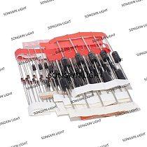 100pcs/lot 1N4148 1N4007 1N5819 1N5399 1N5408 1N5822 FR107 FR207,8values=100pcs,Electronic Components Package,Diode Assorted Kit