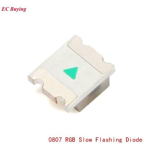 100Pcs 0807 RGB SMD Led Lamp 0805 RGB Slow Flashing Diode Colorful Diodes Flash DIY