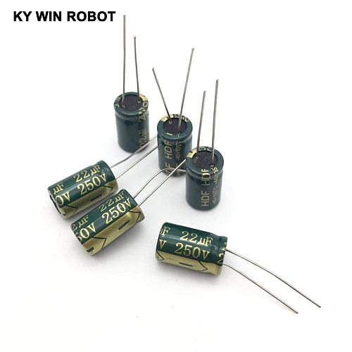 250V 22UF 10*17 10x17mm high frequency low impedance aluminum electrolytic capacitor 22uf 250v