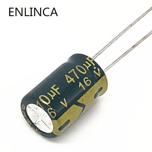300pcs/lot P65 470uf16V Low ESR/Impedance high frequency aluminum electrolytic capacitor size 8*12 16V 470uf 20%