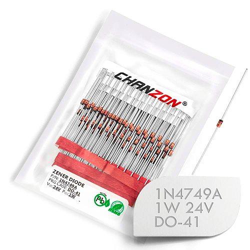 (100 Pcs) 1N4749A 1N4749 Power Zener Diode 1W 24V DO-41 (DO-204AL) Axial 1 Watt 24 Volt IN 1N 4749A IN4749A
