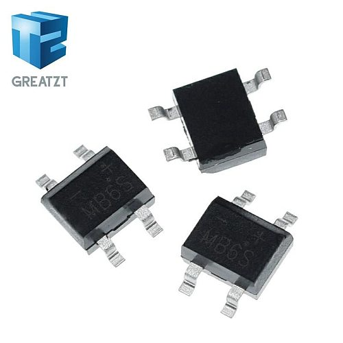 GREATZT 10pcs 600V 0.5A SOP-4 SMD rectifier diode bridge mb6s
