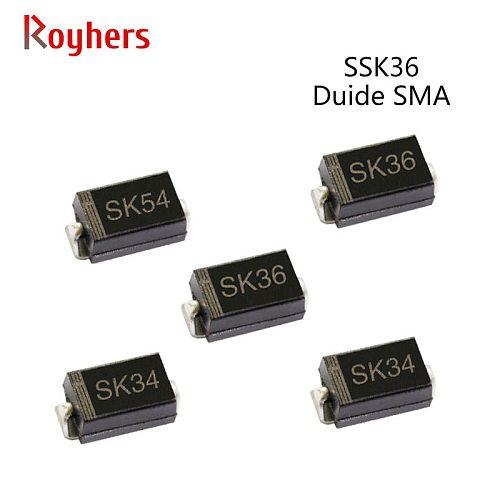 50Pcs SMD Schottky Diode SK36 SK54 SK310 SK34 2A 20V 30V 40V 50V 60V 80V 100V SMA DO-214AC