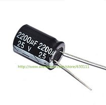 Free shipping 100pcs 25V2200uF 2200UF 25V Radial Electrolytic Capacitor 13X20mm