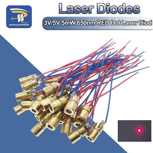 10PCS Adjustable Mini Laser Pointer Diode RED Dot Laser Diod Circuit 3V/5V 5mW 650nm Module Pointer Sight Copper Head