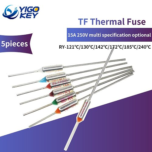 5Pcs TF Thermal Fuse RY 15A 250V Temperature 73C  75C 80C 85C 95C 100C 105C 110C 113C 115C 120C 125C 130C 133C 145C 150C 152C