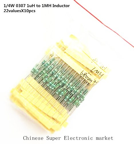 1/4W 0307 1uH to 1MH Inductor, 22valuesX10pcs=220pcs Inductor Assorted Kit