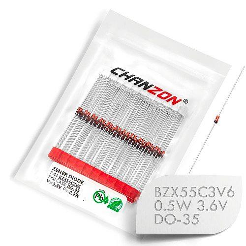 (100 Pcs) BZX55C3V6 (1N5227B) Zener Diode 0.5W 3.6V DO-35 (DO-204AH) 0.5 Watt 3.6 Volt 3V6 IN5227B 1N5227