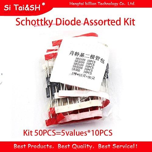 Kit 50PCS=5values*10PCS Schottky Diode Assorted Kit SR3100 SR3200   SR5100 SR5200 SR560 each 10PCS