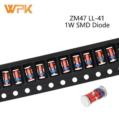 50Pcs 1W SMD Zener Diode ZM4728A ZM4729A ZM4730A ZM4731A ZM4732A ZM4733A 5.6V 6.2V 6.8V 7.5V 8.2V 9.1V 10V 11V 12V LL-41 ZM47