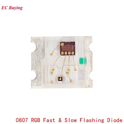 50Pcs 0807 Slow And Fast Flashing RGB SMD Led Lamp 0805 RGB Slow Fast Flash Diode Colorful Diodes DIY