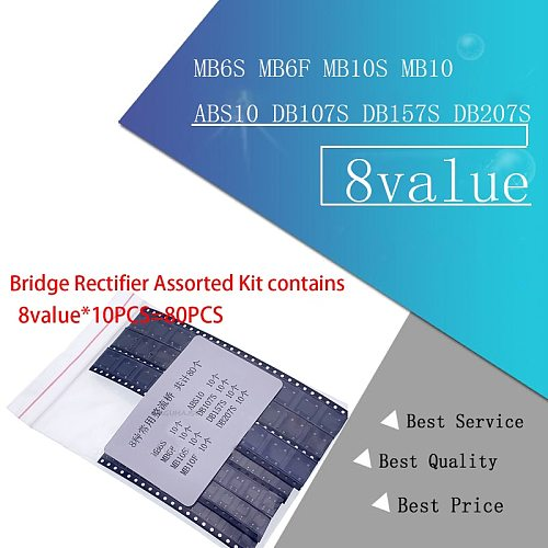 8value*10PCS=80PCS Bridge Rectifier Assorted Kit contains MB6S MB6F MB10S MB10F ABS10 DB107S DB157S DB207S
