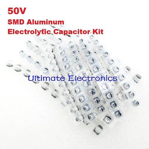 165Pcs/Lot 11values 0.1uF-220uF 50V SMD Aluminum Electrolytic Capacitor Assorted Kit Set Samples Kit