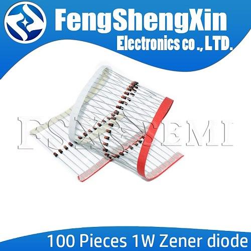 100pcs New 1W Zener diode DO-41 3V 3V3 3V6 3V9 4V3 4V7 5V1 5V6 6V2 6V8 7V5 8V2 9V1 10V 11V 12V 13V 15V 1N4733A 1N4742A 1N4728A