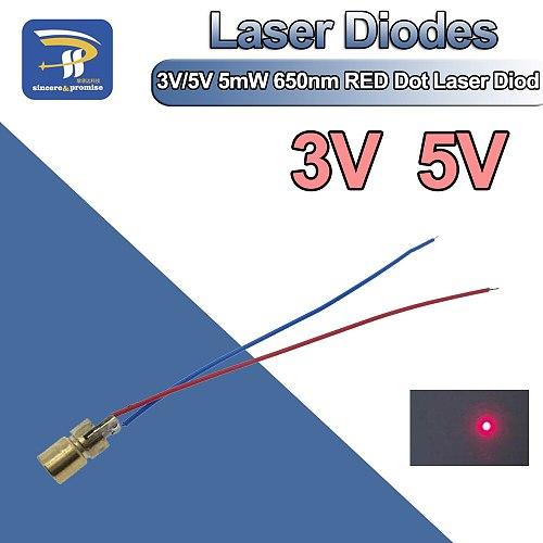 3V/5V 650nm 5mW Adjustable Laser Dot Diode Module Red Sight Copper Head Mini Laser Pointer