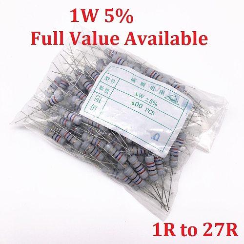 500PCS 1W Oxide Carbom Metal film Resistor 1R/2.2R/4.7R/5.1R/6.2R/6.8R/7.5R/8.2R/10R/12R/15R/18R/20R/22R/24R/27R/Ohm 5%