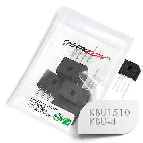 10 Pcs KBU1510 Bridge Rectifier Diode 15A 1000V KBU-4 (SIP-4) Single Phase Full Wave 15 Amp 1000 Volt Silicon kbu 1510