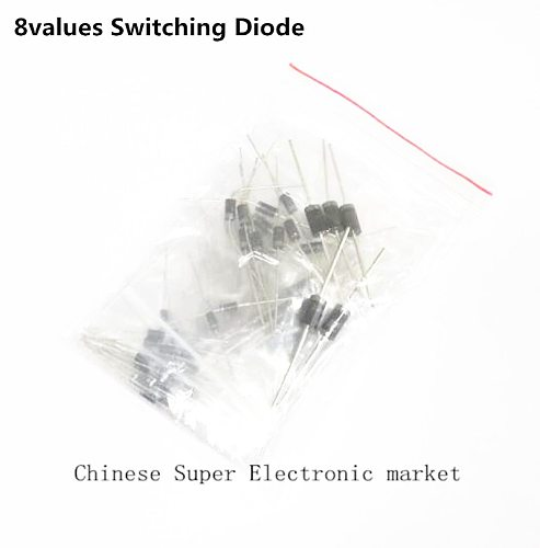 1N4148 1N4007 1N5819 1N5399 1N5408 1N5822 FR107 FR207,DIP 8values=100pcs,Electronic Components Package,Diode Assorted Kit