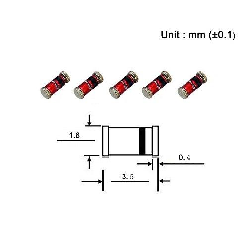 (100 Pcs) SMD Zener Diode 0.5W 5.6V ZMM5V6 LL-34 (SOD-80 MiniMELF / 1206) 0.5 Watt 5.6 Volt ZMM 5V6