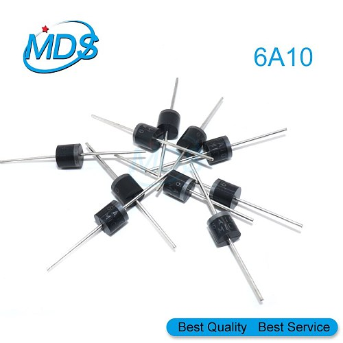 10pcs 6A10 R-6 DIP 6A 1000V Electrical Axial Rectifier Diode 6a10 Mic Diode