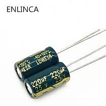 50pcs/lot p25 25V 220UF Low ESR/Impedance high frequency aluminum electrolytic capacitor size 6*12 220UF25V 20%