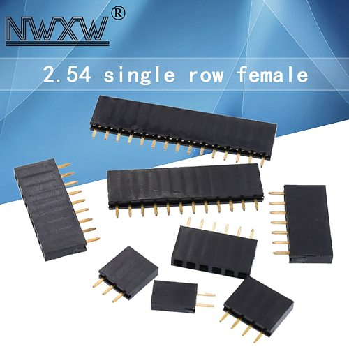10PCS nickel-plated copper 2.54MM 1*2/3/4/5/6/7/8/9/10/11/12/13/14/15/16/ 40Pin single row female pin socket PCB connector