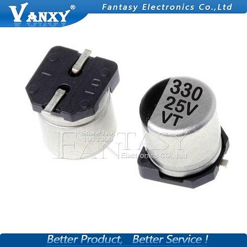10PCS Electrolytic capacitor 25V330UF 8*10mm SMD aluminum electrolytic capacitor 330uf 25v