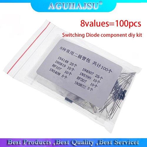 8values=100pcs 1N4148 1N4007 1N5819 1N5399 1N5408 1N5822 FR107 FR207 Switching Diode component diy kit