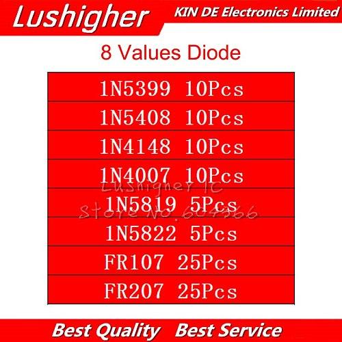 8values 100pcs 1N5399 1N5408 1N4148 1N4007 1N5819 1N5822 FR107 FR207 Switching Diode Component Diy Kit