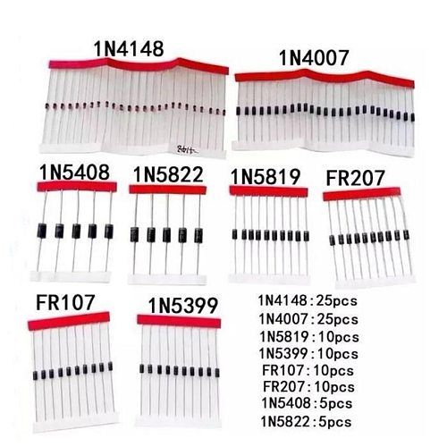 8values=100pcs 1N5399 1N5408 1N4148 1N4007 1N5819 1N5822 FR107 FR207 Switching Diode component kit the quantity check details