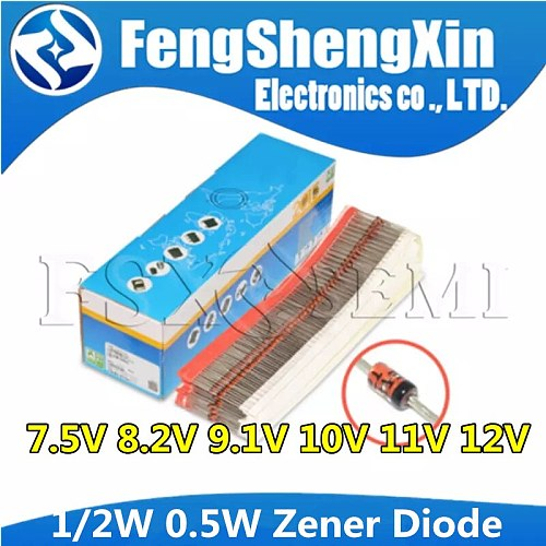 100pcs 1/2W Zener Diode 0.5W 7.5V 8.2V 9.1V 10V 11V 12V BZX55C7V5 BZX55C8V2 BZX55C9V1 BZX55C10V BZX55C11V BZX55C12V