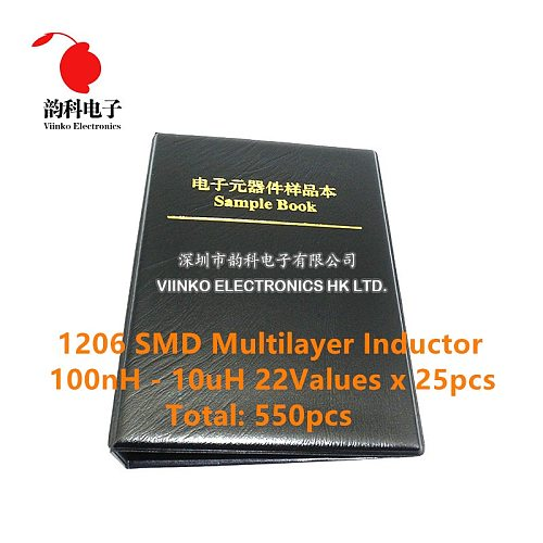 1206 SMD Multilayer Inductor Sample Book 100nH~10uH 22Valuesx25pcs=550pcs Assorted Kit