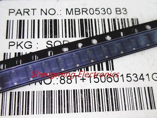 100PCS 1206 MBR0530LT1G B3 MBR0530 SOD-123 Schottky diode