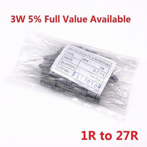 200PCS 3W Oxide Carbom Metal film Resistor 1R/2.2R/4.7R/5.1R/6.2R/6.8R/7.5R/8.2R/10R/12R/15R/18R/20R/22R/24R/27R/Ohm 5%
