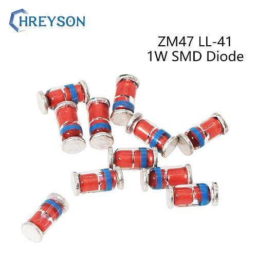 50Pcs 1W SMD Zener Diodes LL-41 ZM4750A ZM4751A ZM4752A ZM4753A ZM4754A ZM4755A 47V 51V 56V 62V 68V 75V 15V 16V 18V 20V 22V ZM47