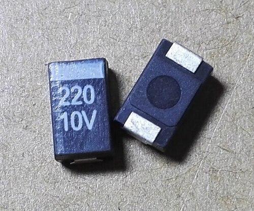 10PCS 7343 D 227 220UF 10V 10% Tantalum Capacitor black