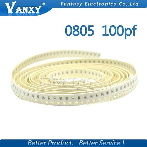 100pcs 100PF NPO Error 5% 50V 0805 100P 0.1NF SMD Thick Film Chip Multilayer Ceramic Capacitor
