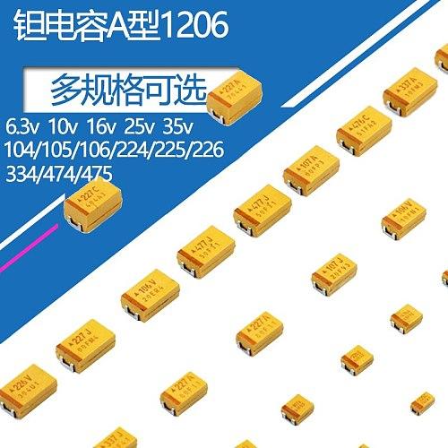 A type 1206 tantalum capacitor patch 6.3v 10v 16v 25v 35v0.1uF 2.2uf 3.3uf 4.7uf 3216
