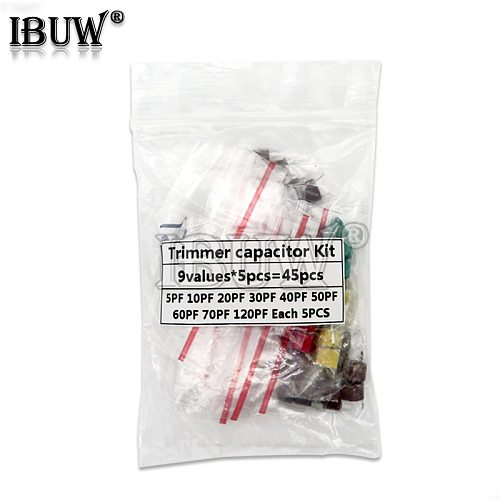45pcs Variable Trimmer capacitor Assorted Kit JML06 5pf 10pf 20pf 30pf 40pf 50pf 60pf 70pf 120pf Adjustable capacitors set pack