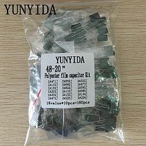 180pcs=18value*10pcs Polyester film capacitor Assorted Kit contains 2A104J 2A332J 2A472J 2A103J 2A333J 2A473J 2A563J 2A223J